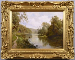 19th Century landscape oil painting of the river Thames at Cliveden