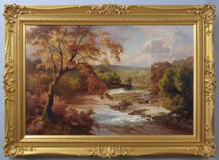 19th Century Yorkshire river landscape oil painting of Barden Tower