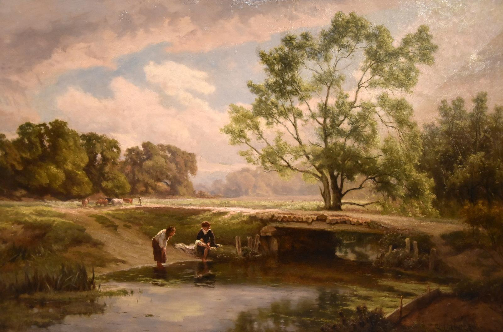 """Landscape Oil Painting """"A Country Footbridge"""" by Edward Holder"""