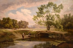 "Landscape Oil Painting ""A Country Footbridge"" by Edward Holder"