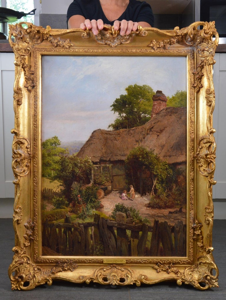 A Thatched Cottage in Surrey - 19th Century Landscape Oil Painting - Brown Figurative Painting by Edward Henry Holder