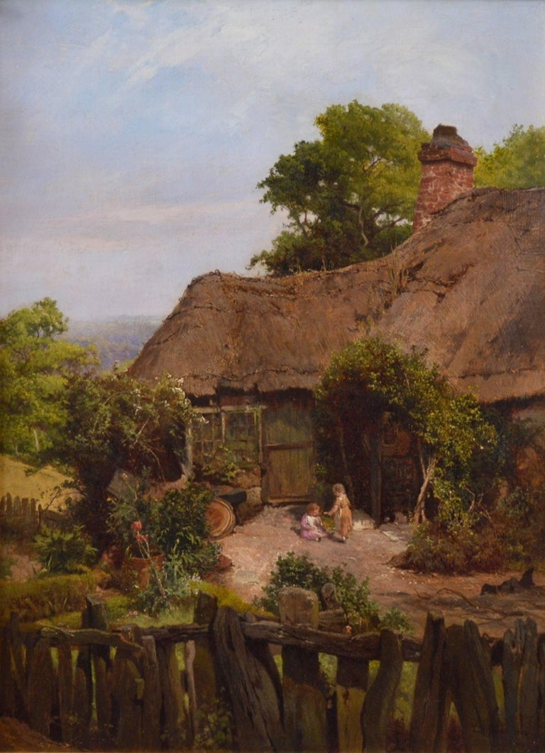 'A Thatched Cottage in Surrey' by Edward Henry Holder (1847-1922). The painting is signed by the artist and dated 1884.  A fine large 19th century landscape oil on canvas depicting two small children playing outside a thatched cottage in summertime.