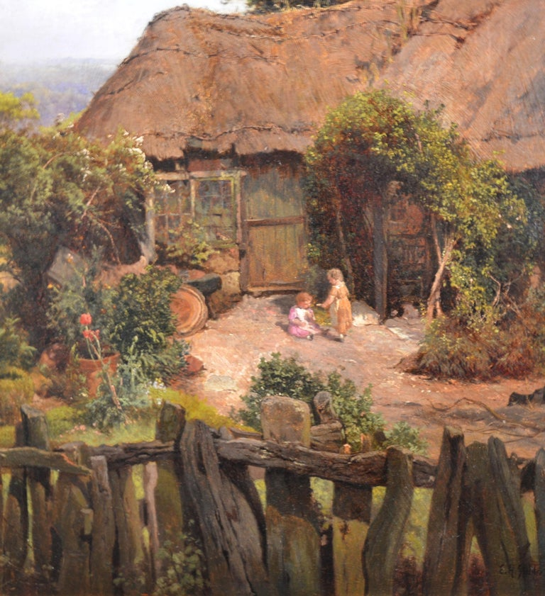 A Thatched Cottage in Surrey - 19th Century Landscape Oil Painting For Sale 1