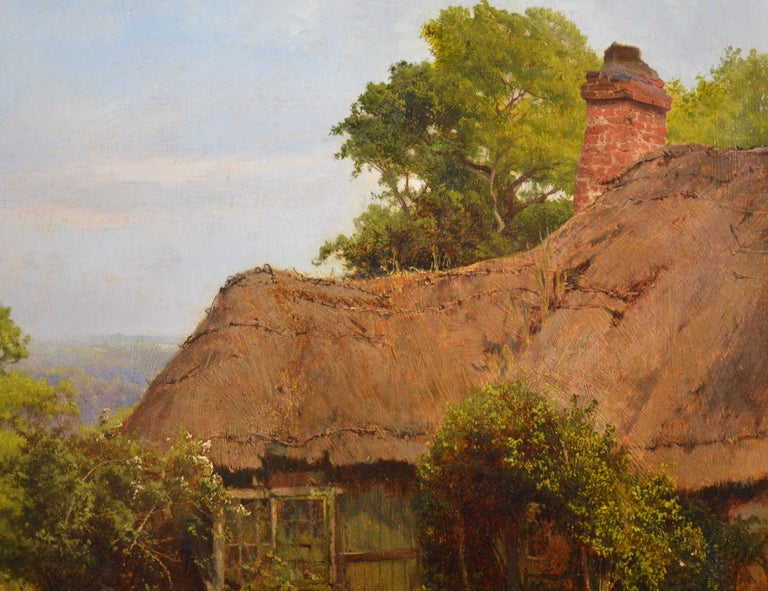 A Thatched Cottage in Surrey - 19th Century Landscape Oil Painting For Sale 5
