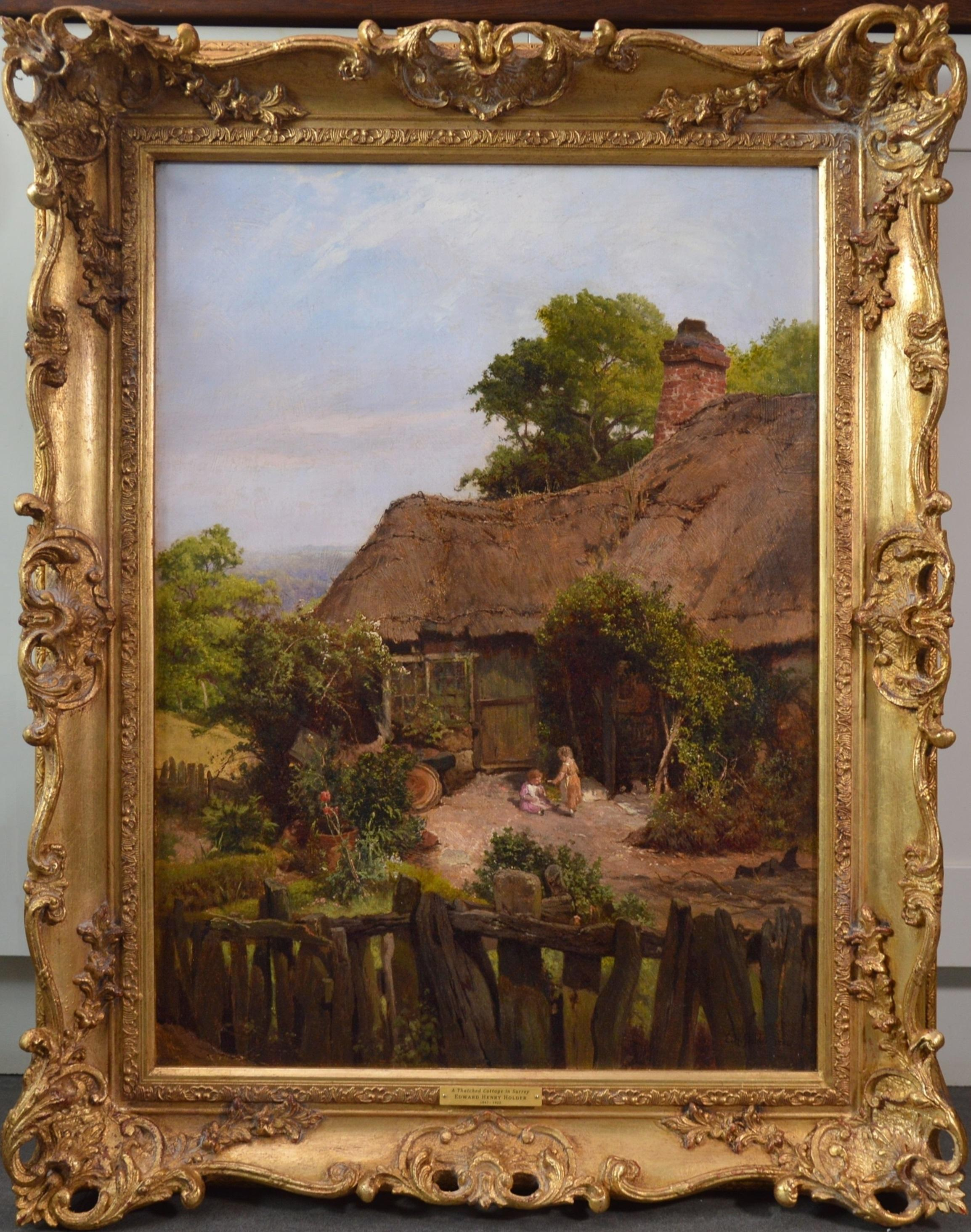 A Thatched Cottage in Surrey - 19th Century Landscape Oil Painting