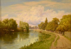 "Oil Painting by Edward Henry Holder ""On the Thames near Staines"""
