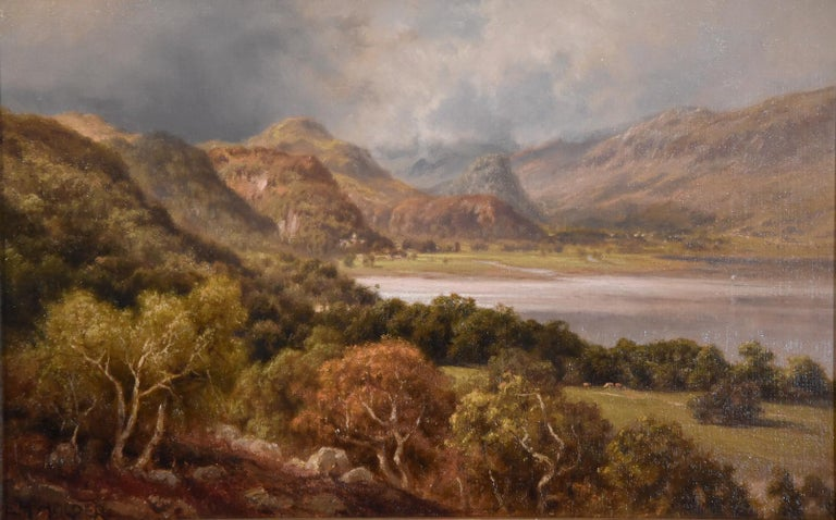 """Oil Painting by Edward Henry Holder """"Scene in the Lake District"""" 1847-1922 A Scarborough born painter of rural landscapes who became a prolific exhibitor at the Royal Academy, society and elsewhere. Lived near Reigate. Oil on canvas."""