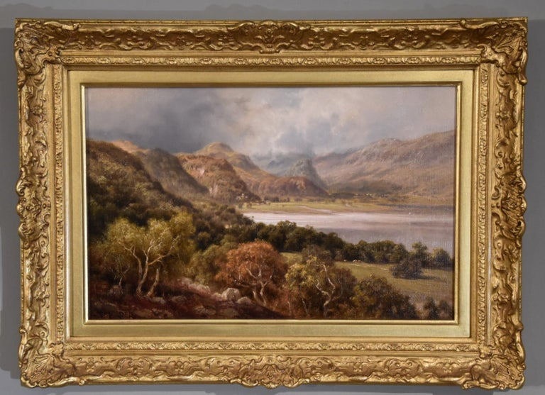 """Oil Painting by Edward Henry Holder """"Scene in the Lake District"""" For Sale 1"""