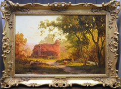 Virginia Creeper - 19th Century English Summer Landscape Oil Painting