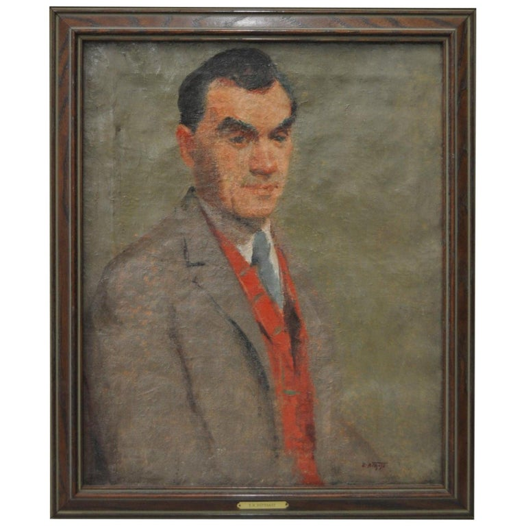 """Early 20th century oil portrait by Edward Henry Potthast.  This original oil on canvas is signed lower right. We don't know who the sitter is.   Verso says """"Merrick"""".  Dimensions 17 1/2"""" x 22"""". Frame dimensions 21 """" x 25"""".   Good antique"""