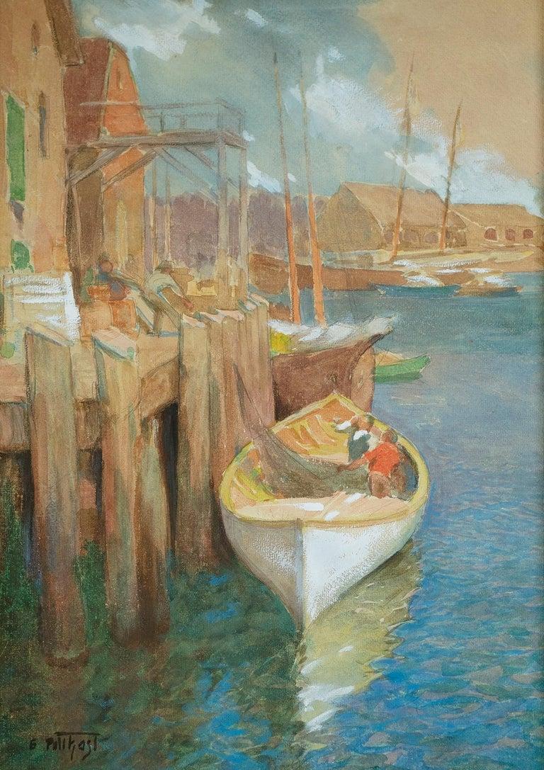 Edward Henry Potthast Landscape Painting - Hauling Nets, Gloucester