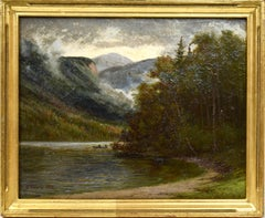 Edward Hill, Tranquil Catskill Mountain Landscape Oil Painting, Echo Lake View