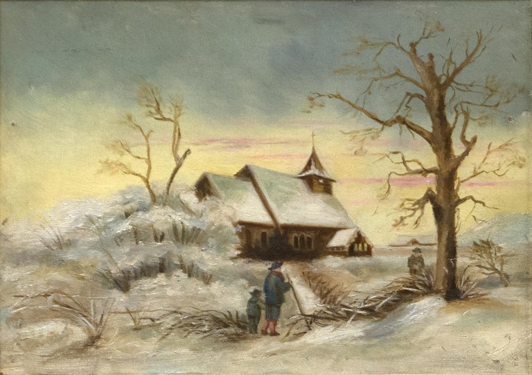 """A painting by Edward Hopper. """"Church and Landscape"""" is an oil on canvas landscape painting, depicting a snowy foreground and a church with a yellow and gray sky by American artist Edward Hopper.  Provenance: Sanborn Collection, Edward Hopper House,"""