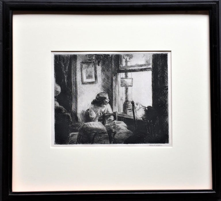 East Side Interior. 1922. Etching and drypoint. Levin 85. 7 7/8 x 10 (sheet 11 x 13 1/4 inches. Remnants of brown tape, top margin verso; slight mat line. Printed on cream wove paper. Signed in pencil, lower right; titled verso, lower left.