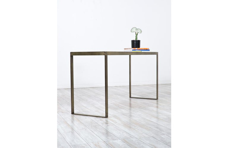 Edward J. Wormley Bronze Console Table with Crema Marfil Stone Top for Dunbar For Sale 6