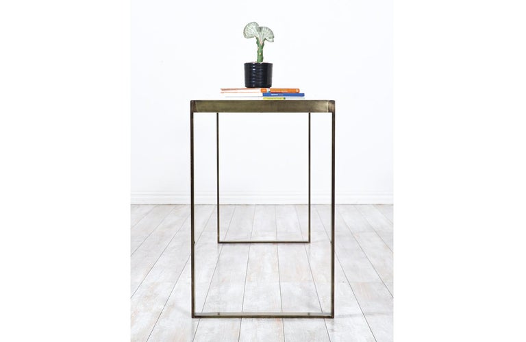Edward J. Wormley Bronze Console Table with Crema Marfil Stone Top for Dunbar For Sale 7