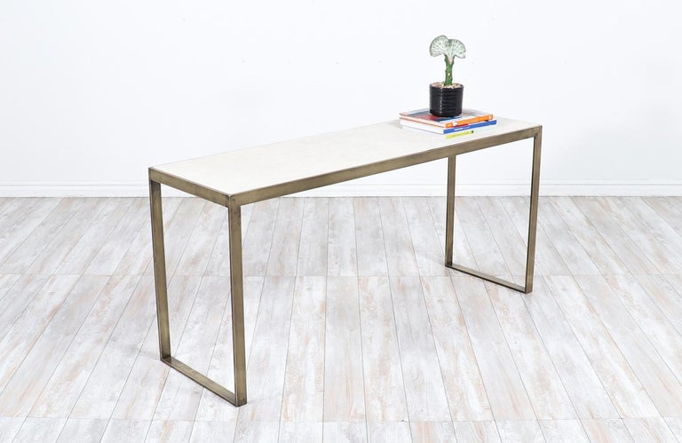Mid-Century Modern Edward J. Wormley Bronze Console Table with Crema Marfil Stone Top for Dunbar For Sale