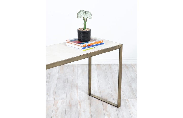 Patinated Edward J. Wormley Bronze Console Table with Crema Marfil Stone Top for Dunbar For Sale