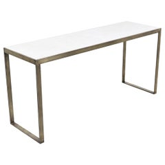 Edward J. Wormley Bronze Console Table with Crema Marfil Stone Top for Dunbar