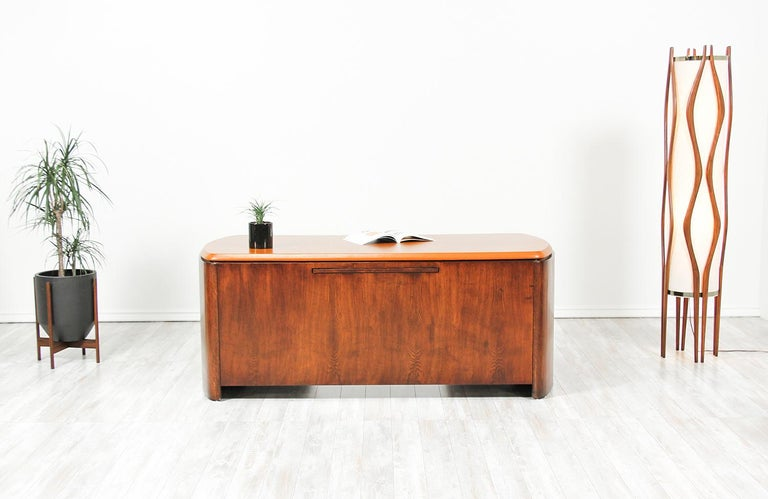 American Edward J. Wormley Executive Leather Top Desk for Dunbar