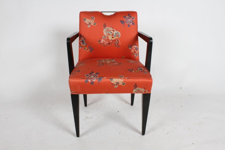 Edward J. Wormley for Dunbar desk or dining chair with tapered legs and brass handle or handhold, circa 1950s. Shown in all original condition with vintage Asian style fabric, has minor stains, wood legs and arms show age, should be refinished From