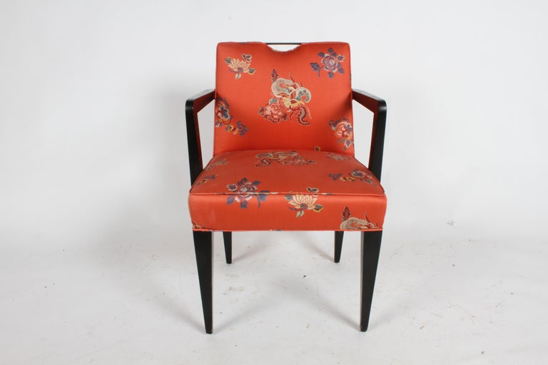 Mid-Century Modern Edward J. Wormley for Dunbar Brass Handle Armchair For Sale