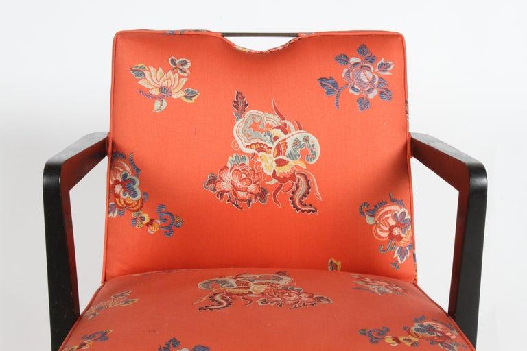 American Edward J. Wormley for Dunbar Brass Handle Armchair For Sale