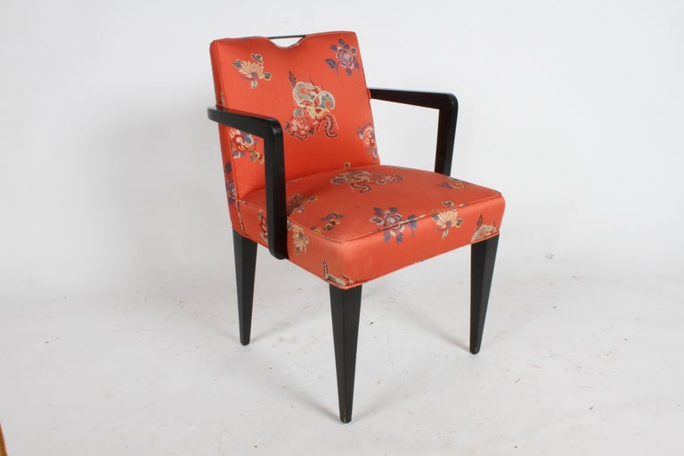 Edward J. Wormley for Dunbar Brass Handle Armchair In Good Condition For Sale In St. Louis, MO