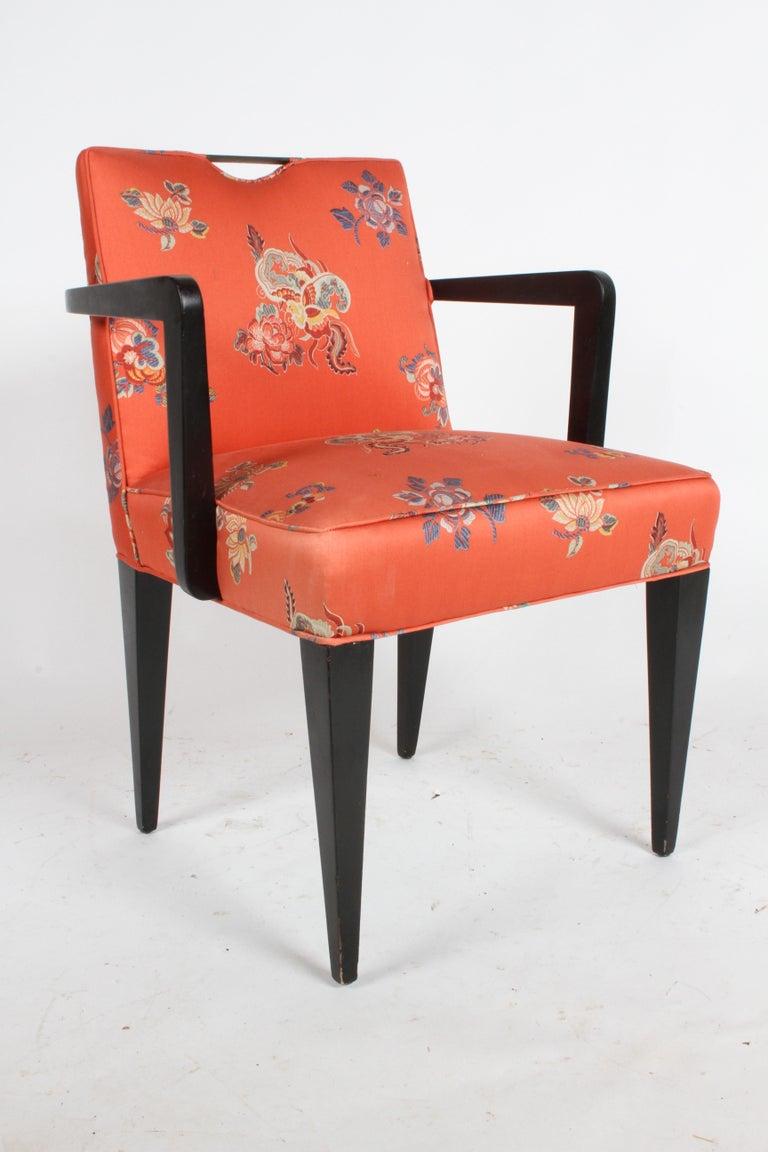 Mid-20th Century Edward J. Wormley for Dunbar Brass Handle Armchair For Sale