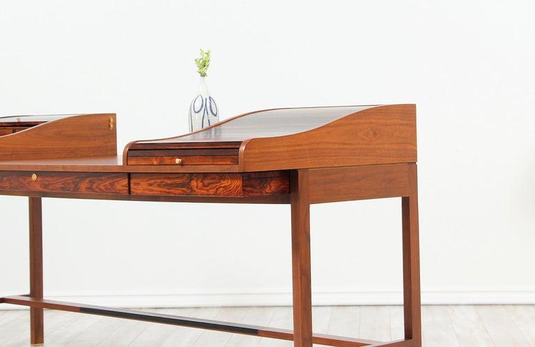 Edward J. Wormley Model #452 Tambour-Door Rosewood Desk for Dunbar For Sale 3