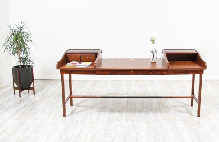 Mid-Century Modern Edward J. Wormley Model #452 Tambour-Door Rosewood Desk for Dunbar For Sale
