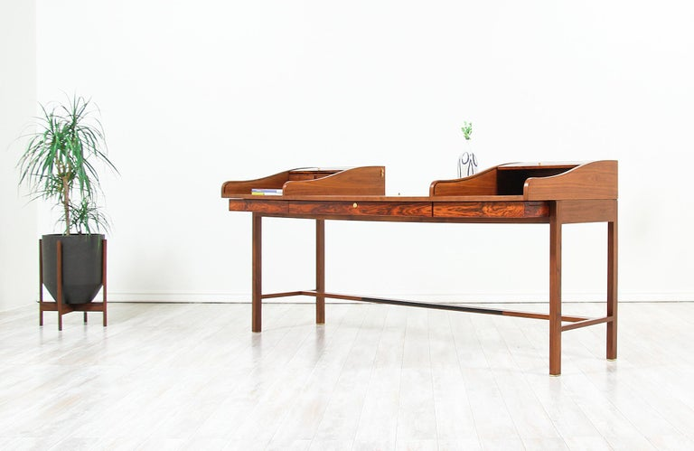 Polished Edward J. Wormley Model #452 Tambour-Door Rosewood Desk for Dunbar For Sale