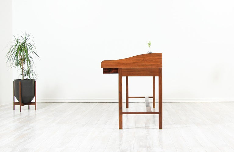Edward J. Wormley Model #452 Tambour-Door Rosewood Desk for Dunbar In Excellent Condition For Sale In Los Angeles, CA