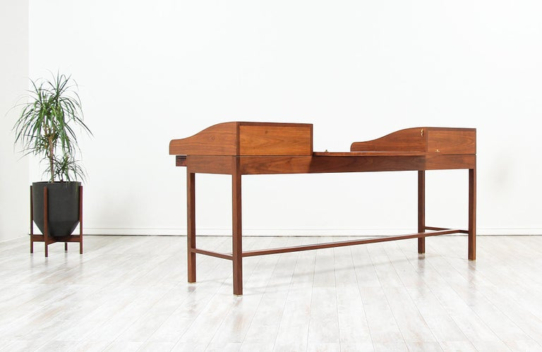 Mid-20th Century Edward J. Wormley Model #452 Tambour-Door Rosewood Desk for Dunbar For Sale