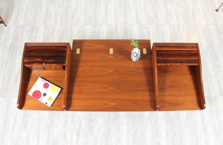 Edward J. Wormley Model #452 Tambour-Door Rosewood Desk for Dunbar For Sale 1