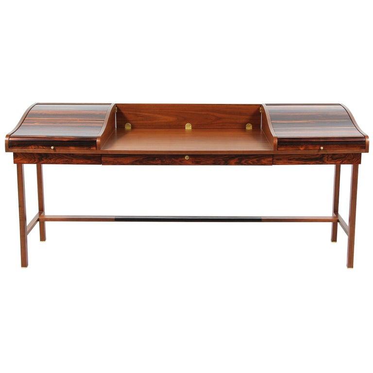 Edward J. Wormley Model #452 Tambour-Door Rosewood Desk for Dunbar For Sale