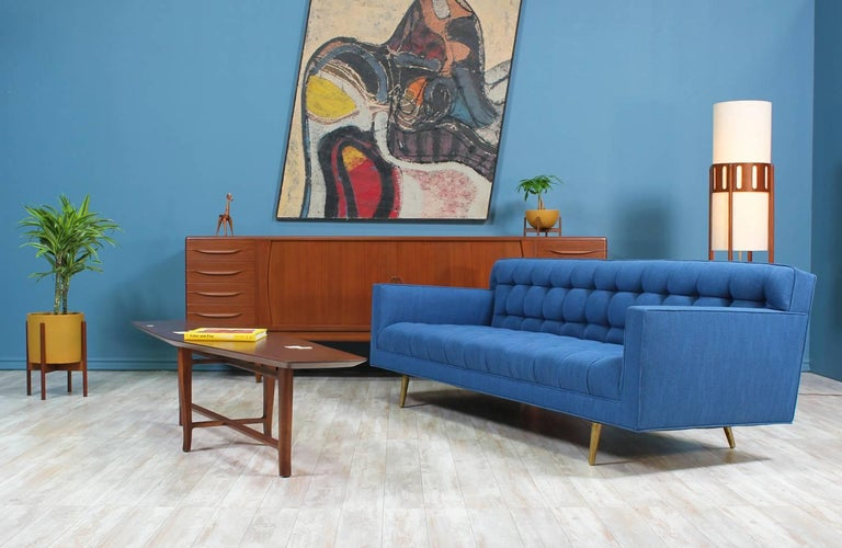 Mid-Century Modern Edward J. Wormley Model-5136 Sofa with Brass Legs for Dunbar For Sale