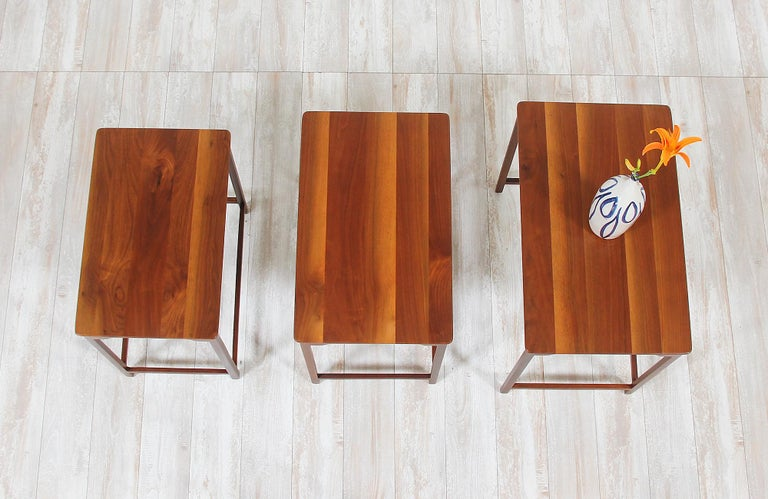 Walnut Edward J. Wormley Nesting Tables for Dunbar For Sale