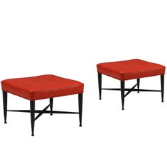 "Edward J. Wormley ""Thebes"" Red Leather Stools for Dunbar"