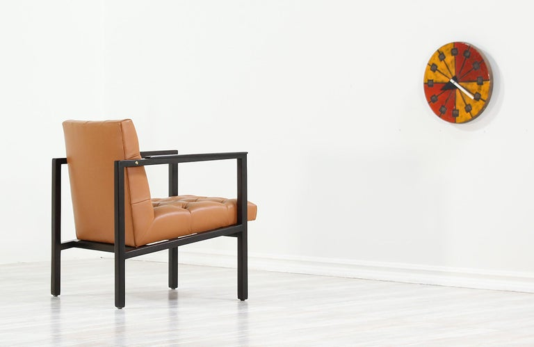 American Edward J. Wormley Tufted Lounge Chair for Dunbar For Sale