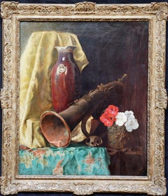 Still Life of Flugelhorn and Flowers - British 1920's Memento Mori oil painting