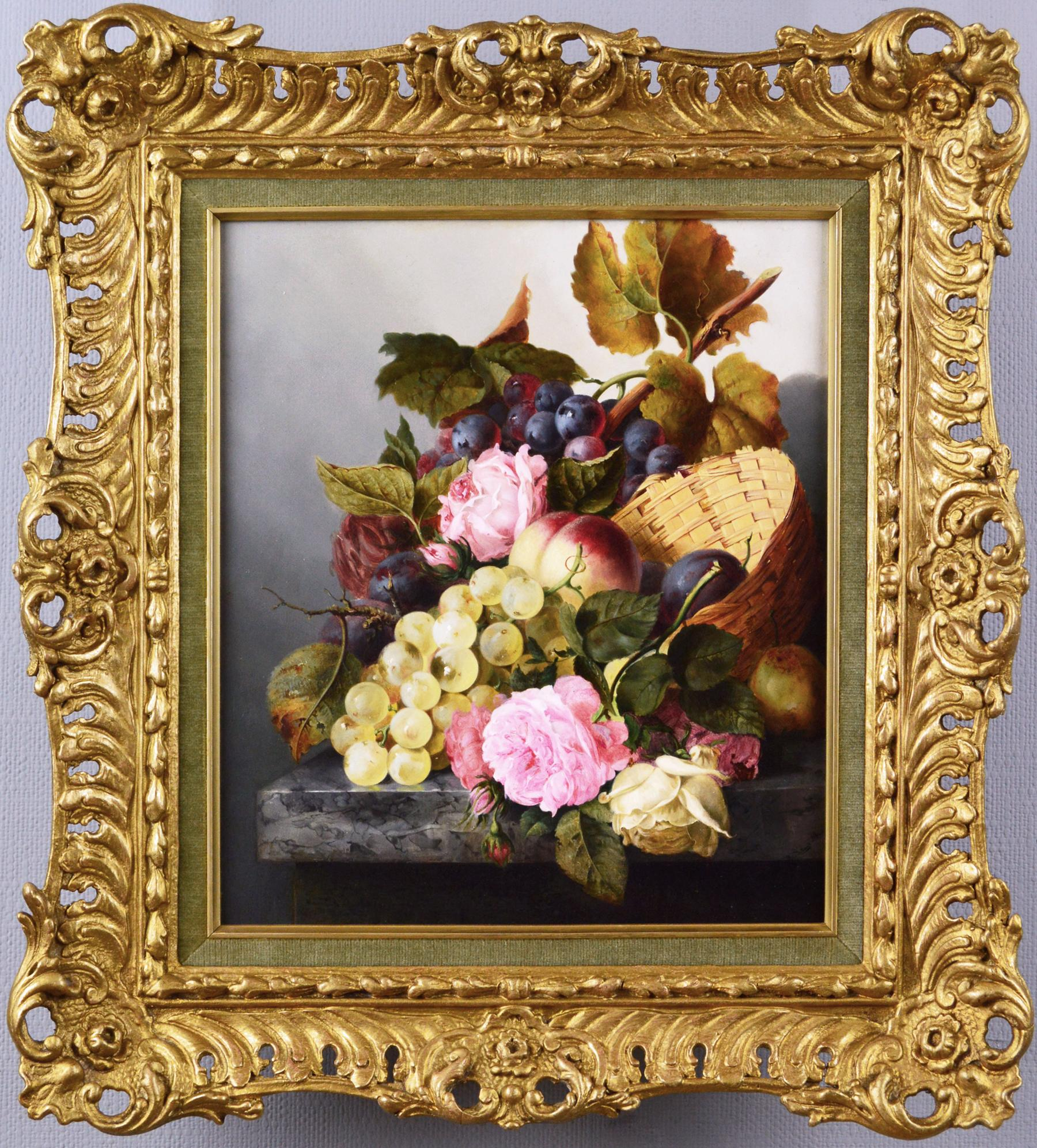 19th Century still life oil painting of fruit & flowers