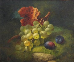 "Edward Ladell, ""Still Life Grapes and Plums"", Oil on Board, 1866"