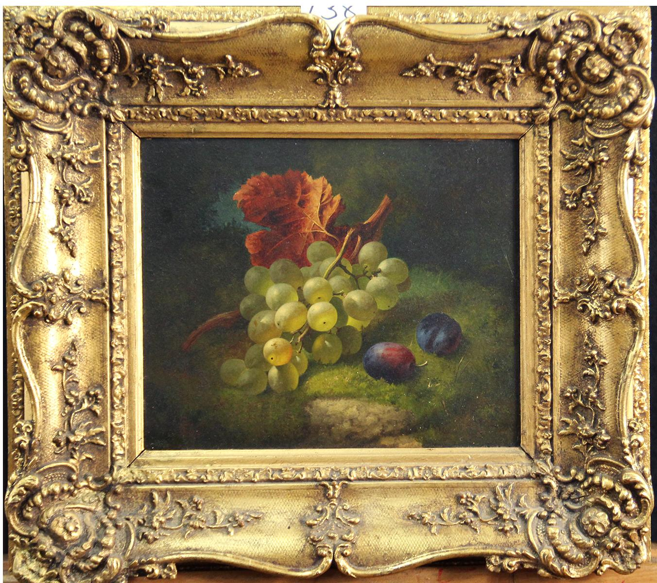 Still Life with Grapes and Plums, Oil on Board, 1866, Realist Art