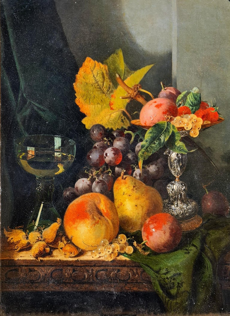 Still life with Silver Tazza, Glass Roemer and Fruit - Painting by Edward Ladell