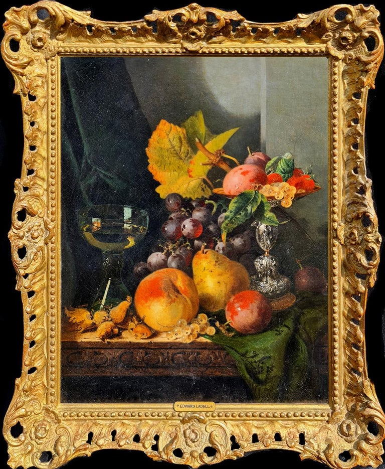 Edward Ladell Still-Life Painting - Still life with Silver Tazza, Glass Roemer and Fruit