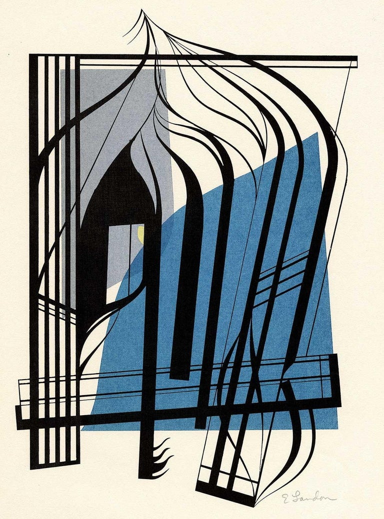 Edward Landon Abstract Print - Arrangement With Blue Major