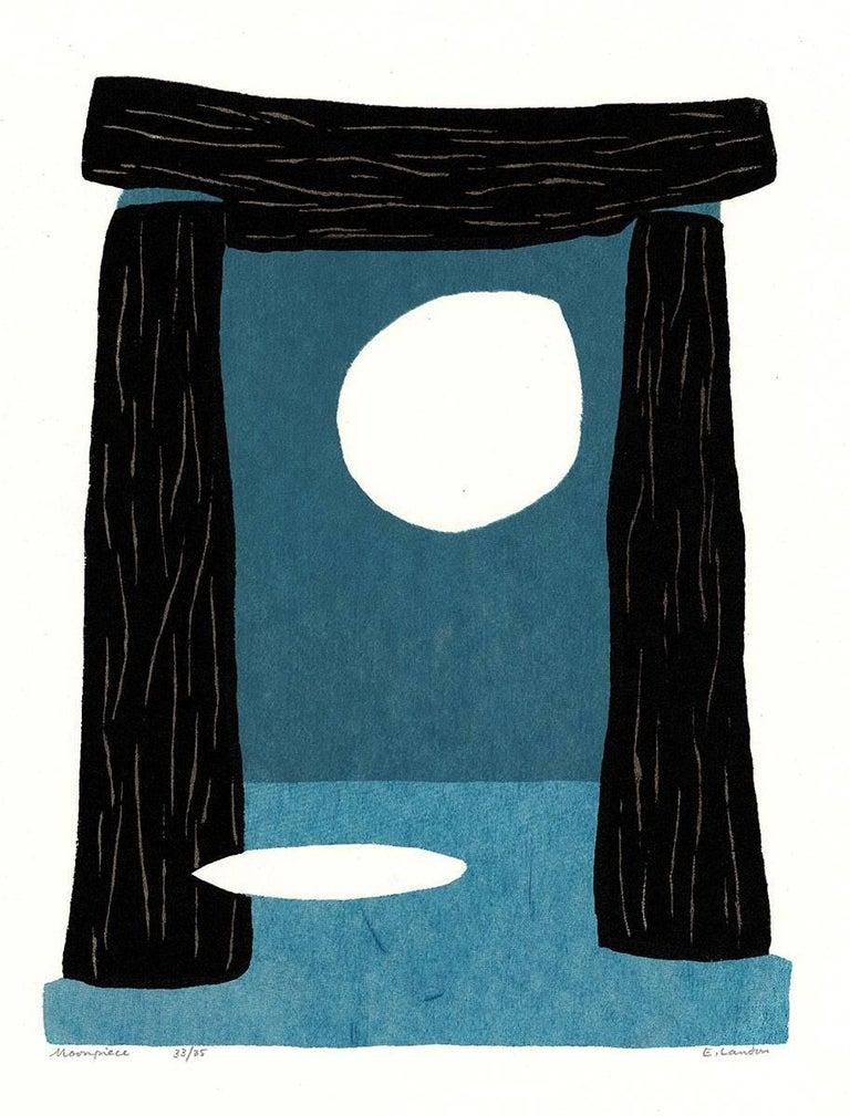 Moonpiece (early screenprint depicts moon shining through Stonehenge like shape)