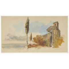 Edward Lear Watercolour from Rome, circa 1840