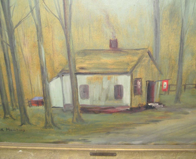 The painting is quaint, as written on the back Edward Mack Hawkins the artist was motoring from NYC to Upstate during the World War, Near Windset on a country road he saw this meager little home bravely flaunting our flag with a single service star.